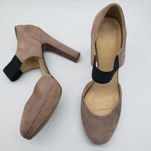 J Crew Jayne Platform Blush Suede Elastic Heels